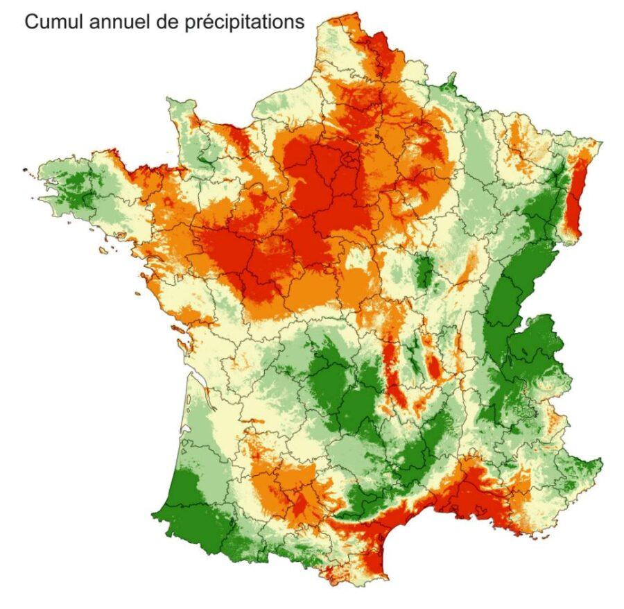 Carte de France avec le cumul annuel de précipitaitons
