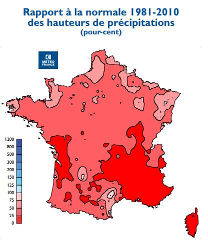 Carte des rapport à la normal des précipitaions en France